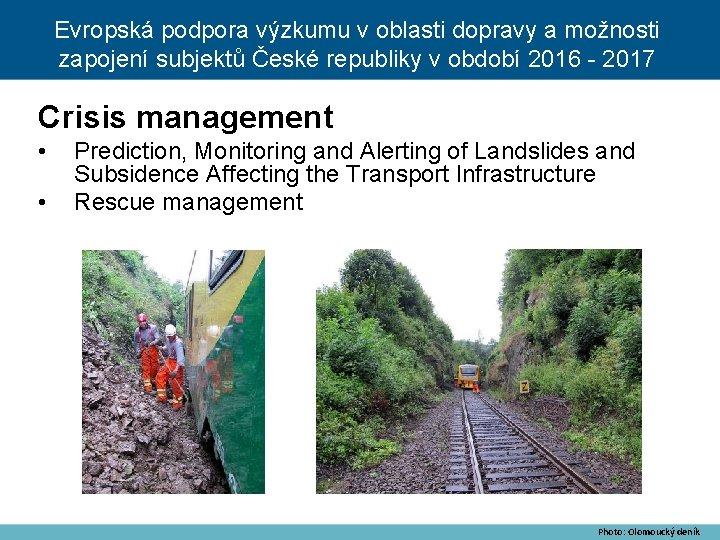 Evropská podpora výzkumu v oblasti dopravy a možnosti zapojení subjektů České republiky v období