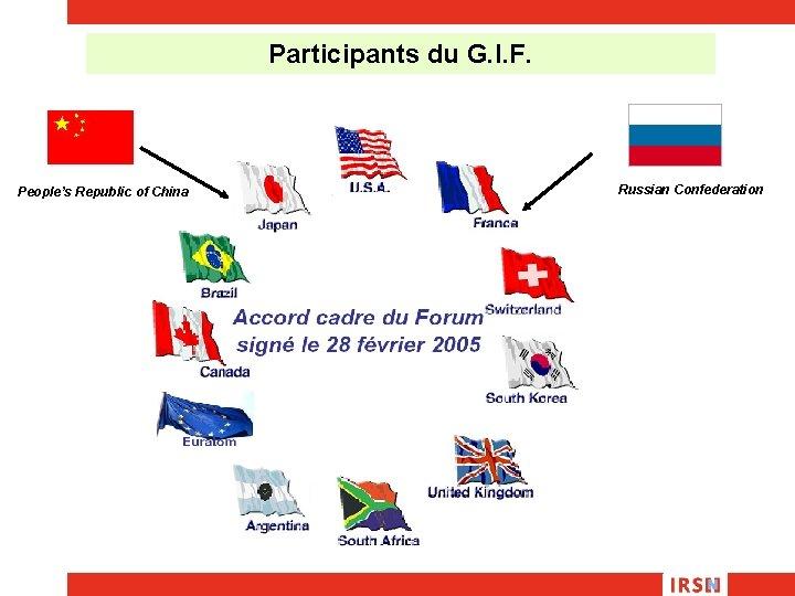 Participants du G. I. F. People's Republic of China Russian Confederation