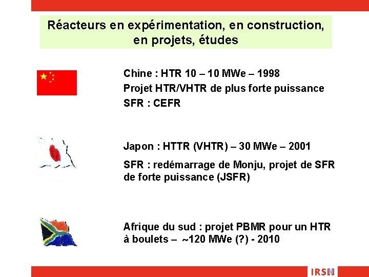 Réacteurs en expérimentation, en construction, en projets, études Chine : HTR 10 – 10