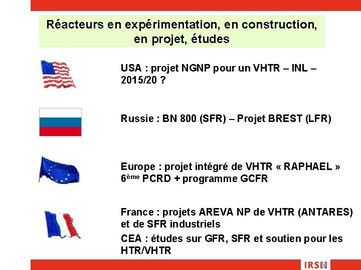 Réacteurs en expérimentation, en construction, en projet, études USA : projet NGNP pour un