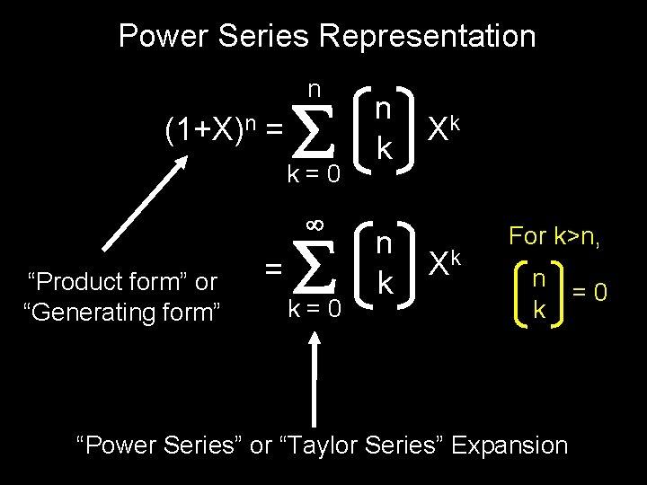 "Power Series Representation n (1+X)n = k=0 ""Product form"" or ""Generating form"" = k=0"