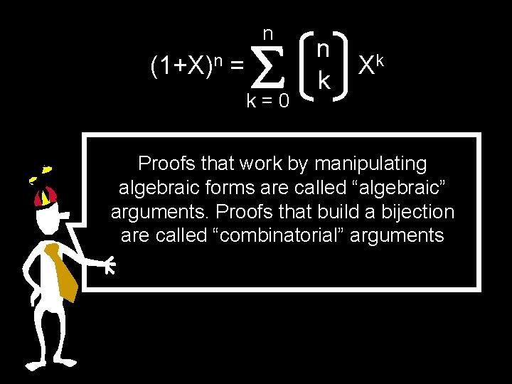 n (1+X)n = k=0 n k Xk Proofs that work by manipulating algebraic forms