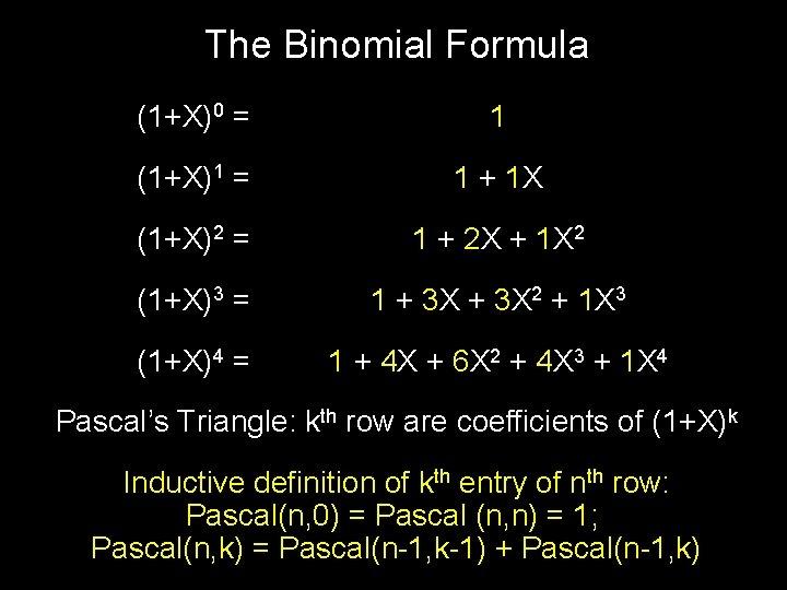 The Binomial Formula (1+X)0 = 1 (1+X)1 = 1 + 1 X (1+X)2 =
