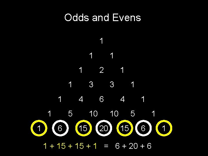 Odds and Evens 1 1 1 1 2 3 4 5 6 1 3
