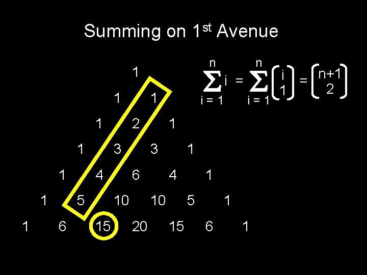 Summing on 1 st Avenue n 1 1 1 1 2 3 4 5