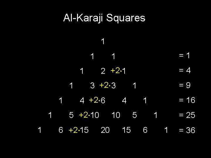 Al-Karaji Squares 1 1 =1 2 +2 1 =4 1 1 3 +2 3