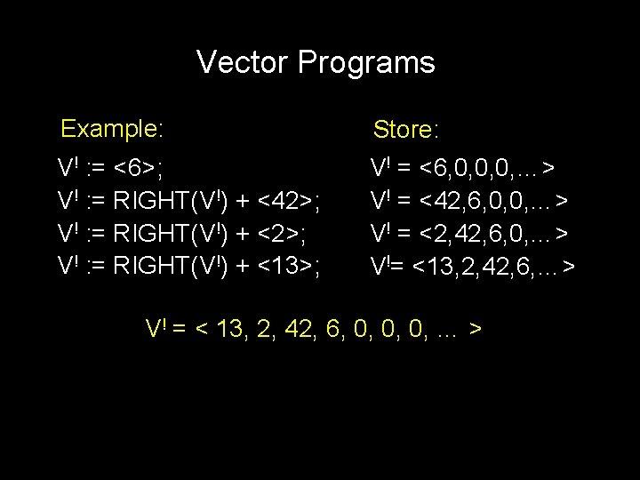 Vector Programs Example: Store: V! : = <6>; V! : = RIGHT(V!) + <42>;