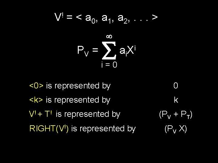 V ! = < a 0, a 1, a 2, . . . >