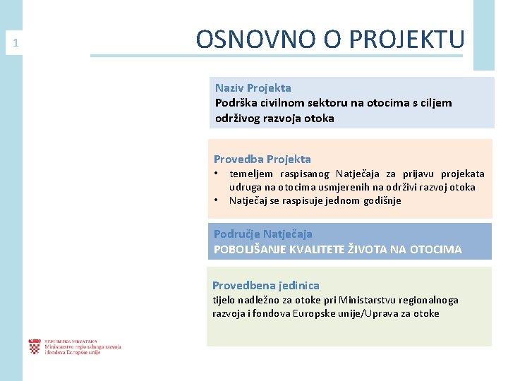 1 OSNOVNO O PROJEKTU Naziv Projekta Podrška civilnom sektoru na otocima s ciljem održivog