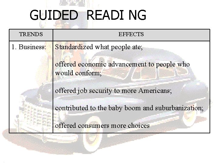 GUIDED READI NG TRENDS 1. Business: EFFECTS Standardized what people ate; offered economic advancement