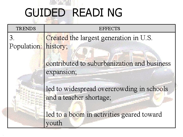 GUIDED READI NG TRENDS EFFECTS 3. Created the largest generation in U. S. Population: