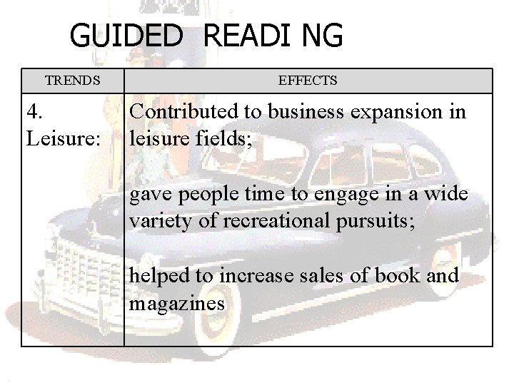 GUIDED READI NG TRENDS 4. Leisure: EFFECTS Contributed to business expansion in leisure fields;