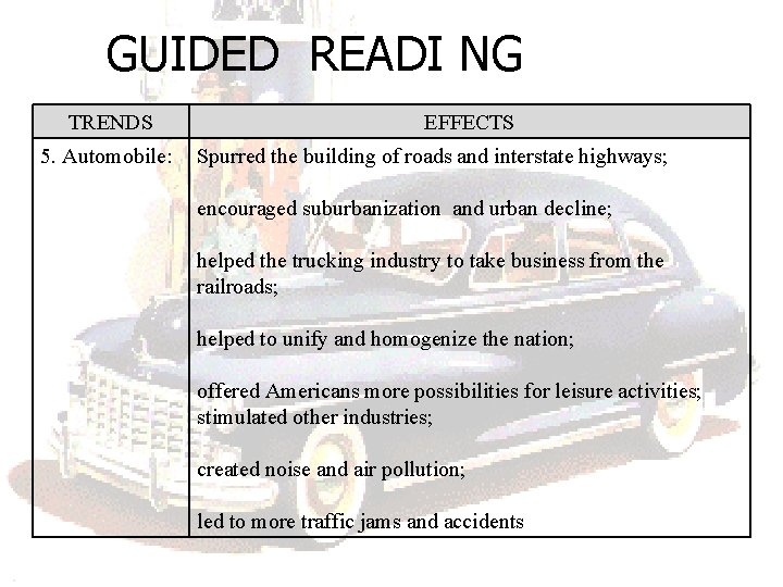GUIDED READI NG TRENDS 5. Automobile: EFFECTS Spurred the building of roads and interstate