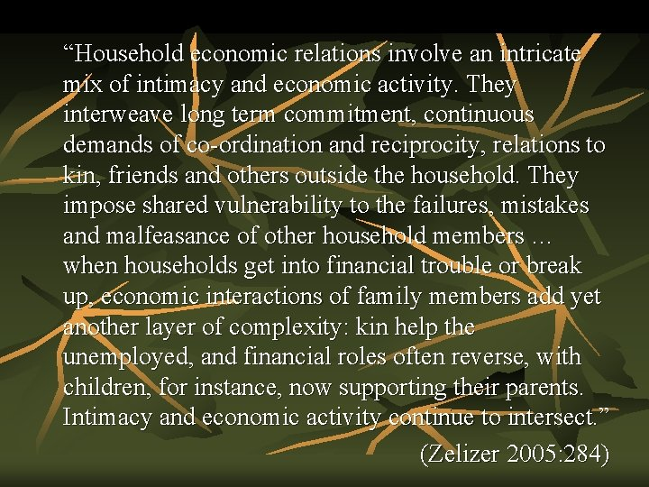 """""""Household economic relations involve an intricate mix of intimacy and economic activity. They interweave"""