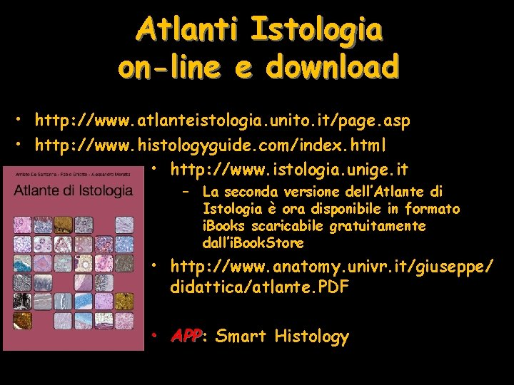 Atlanti Istologia on-line e download • http: //www. atlanteistologia. unito. it/page. asp • http: