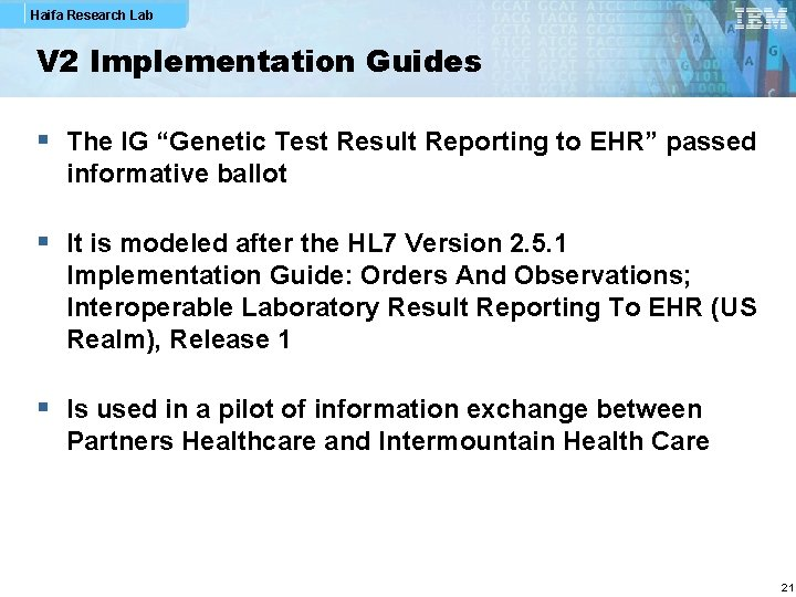 "Haifa Research Lab V 2 Implementation Guides § The IG ""Genetic Test Result Reporting"