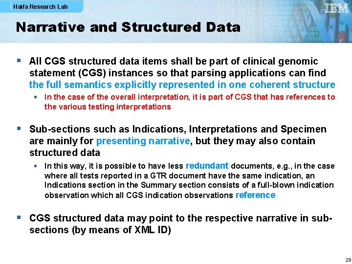 Haifa Research Lab Narrative and Structured Data § All CGS structured data items shall
