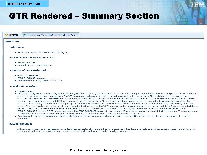 Haifa Research Lab GTR Rendered – Summary Section Draft that has not been clinically