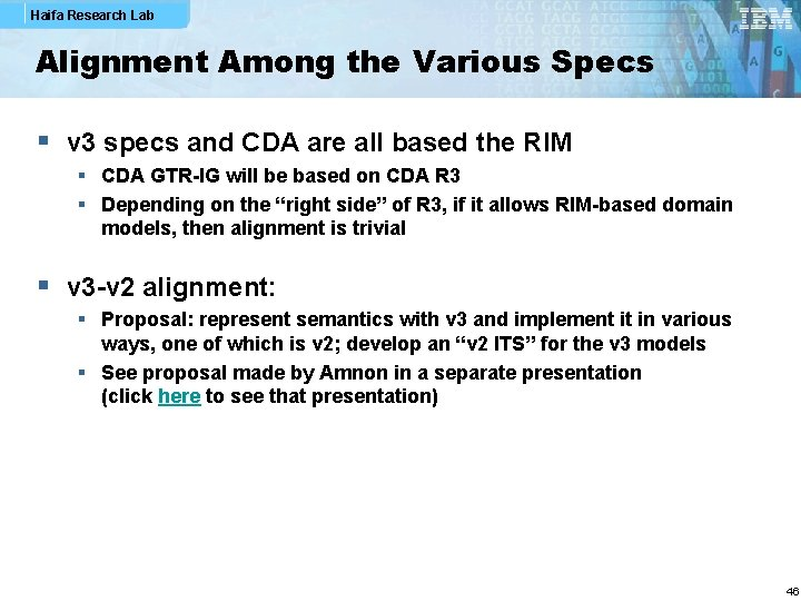 Haifa Research Lab Alignment Among the Various Specs § v 3 specs and CDA
