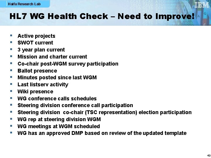 Haifa Research Lab HL 7 WG Health Check – Need to Improve! § §