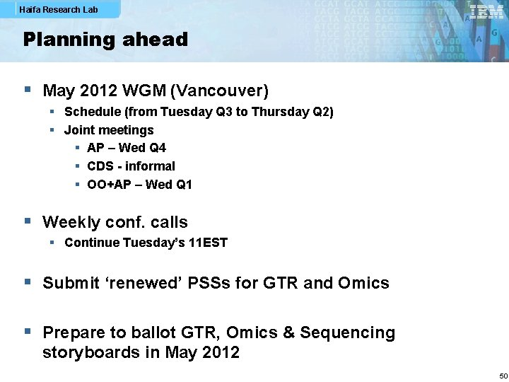 Haifa Research Lab Planning ahead § May 2012 WGM (Vancouver) § Schedule (from Tuesday