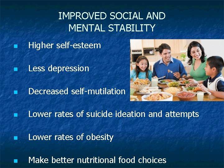 IMPROVED SOCIAL AND MENTAL STABILITY n Higher self-esteem n Less depression n Decreased self-mutilation