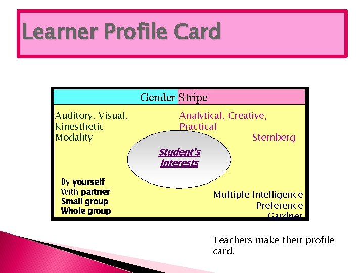 Learner Profile Card Gender Stripe Auditory, Visual, Kinesthetic Modality Analytical, Creative, Practical Sternberg Student's