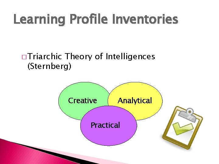 Learning Profile Inventories � Triarchic Theory of Intelligences (Sternberg) Creative Analytical Practical