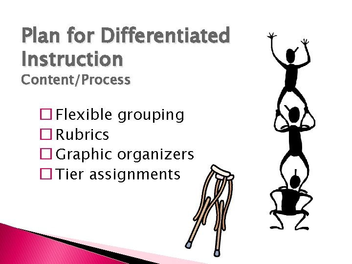 Plan for Differentiated Instruction Content/Process � Flexible grouping � Rubrics � Graphic organizers �
