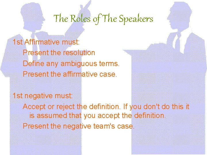 The Roles of The Speakers 1 st Affirmative must: Present the resolution Define any
