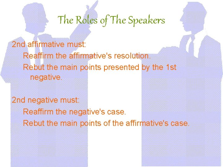 The Roles of The Speakers 2 nd affirmative must: Reaffirm the affirmative's resolution. Rebut