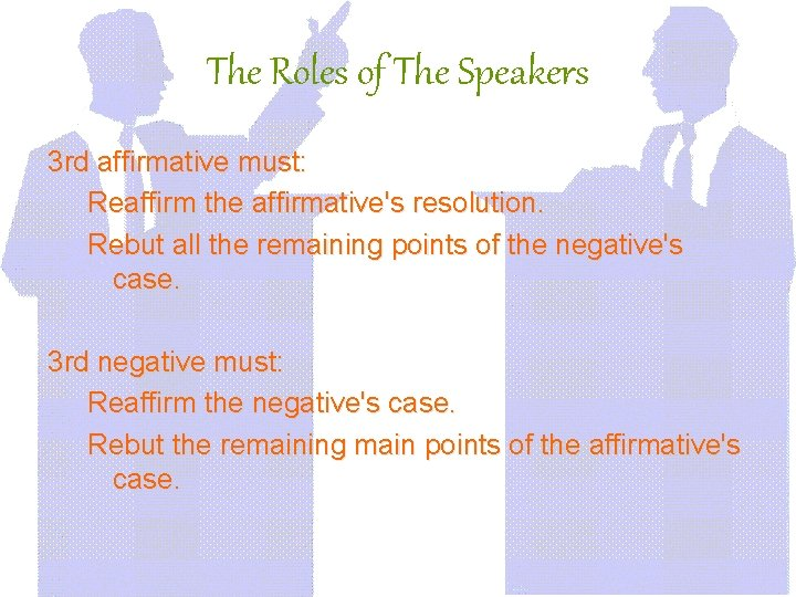 The Roles of The Speakers 3 rd affirmative must: Reaffirm the affirmative's resolution. Rebut