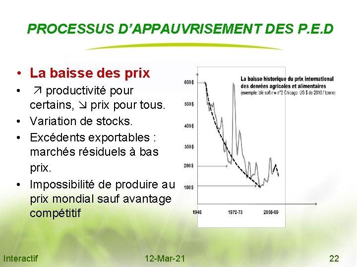 PROCESSUS D'APPAUVRISEMENT DES P. E. D • La baisse des prix • productivité pour