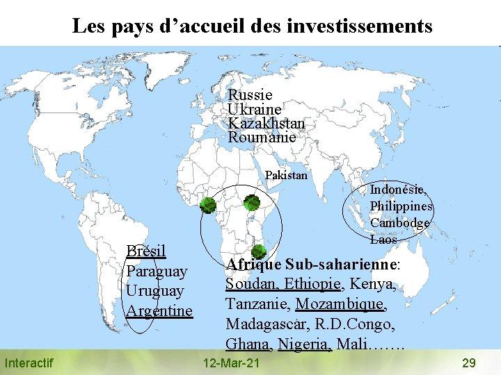 Les pays d'accueil des investissements Russie Ukraine Kazakhstan Roumanie Pakistan Brésil Paraguay Uruguay Argentine