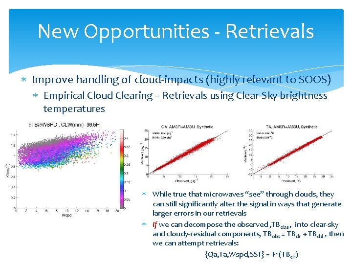 New Opportunities - Retrievals Improve handling of cloud-impacts (highly relevant to SOOS) Empirical Cloud