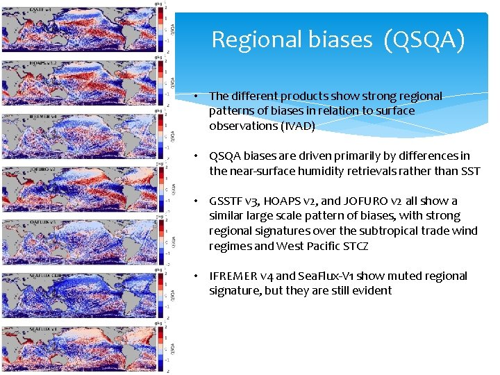 Regional biases (QSQA) • The different products show strong regional patterns of biases in