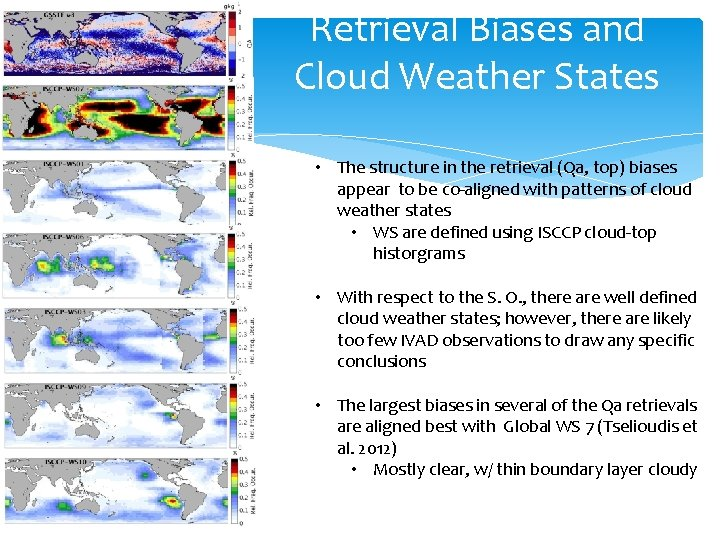 Retrieval Biases and Cloud Weather States • The structure in the retrieval (Qa, top)
