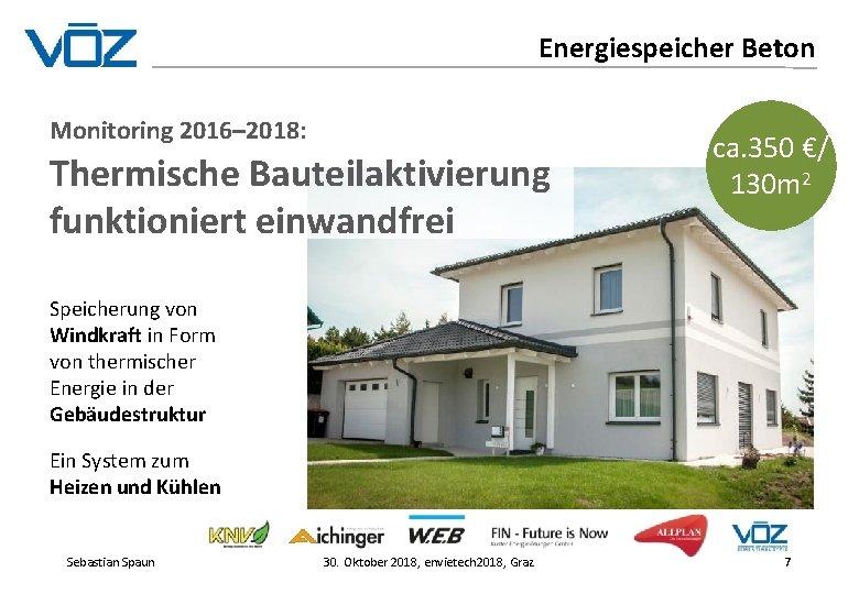 Energiespeicher Beton Monitoring 2016– 2018: Thermische Bauteilaktivierung funktioniert einwandfrei ca. 350 €/ 130 m