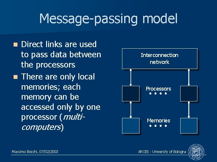 Message-passing model Direct links are used to pass data between the processors n There