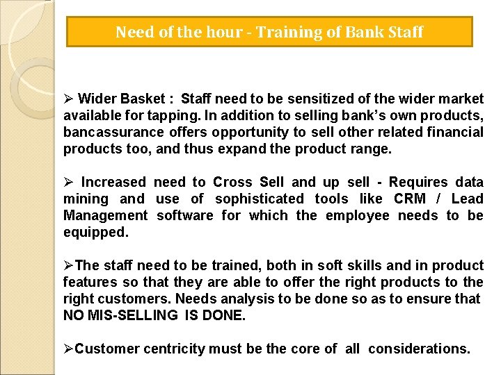Need of the hour - Training of Bank Staff Ø Wider Basket : Staff