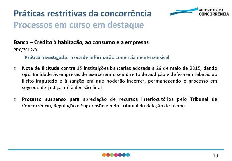 Práticas restritivas da concorrência Processos em curso em destaque Banca – Crédito à habitação,