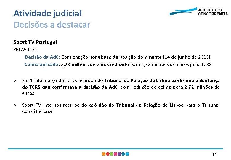 Atividade judicial Decisões a destacar Sport TV Portugal PRC/2010/2 Decisão da Ad. C: Condenação