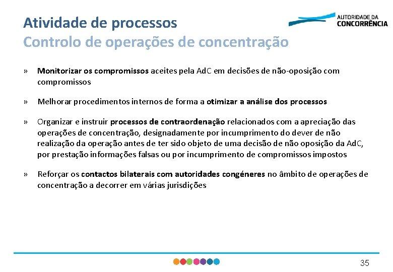 Atividade de processos Controlo de operações de concentração » Monitorizar os compromissos aceites pela