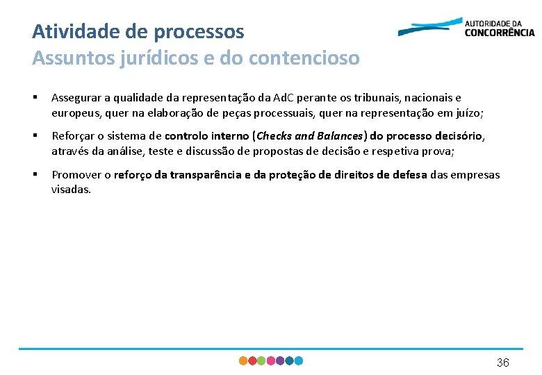 Atividade de processos Assuntos jurídicos e do contencioso § Assegurar a qualidade da representação