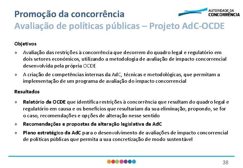 Promoção da concorrência Avaliação de políticas públicas – Projeto Ad. C-OCDE Objetivos » Avaliação