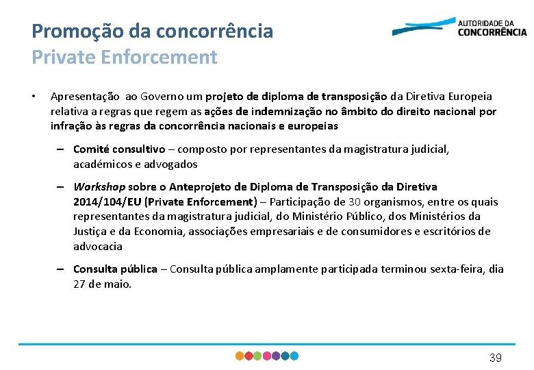 Promoção da concorrência Private Enforcement • Apresentação ao Governo um projeto de diploma de