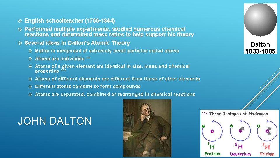 English schoolteacher (1766 -1844) Performed multiple experiments, studied numerous chemical reactions and determined