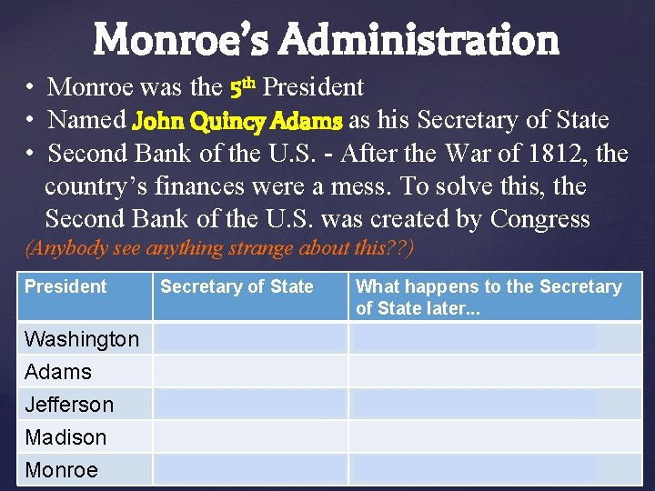 Monroe's Administration • Monroe was the 5 th President • Named John Quincy Adams