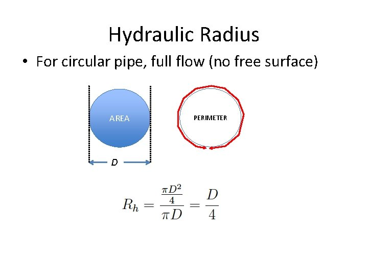 Hydraulic Radius • For circular pipe, full flow (no free surface) AREA D PERIMETER