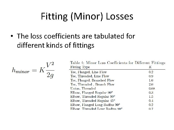 Fitting (Minor) Losses • The loss coefficients are tabulated for different kinds of fittings